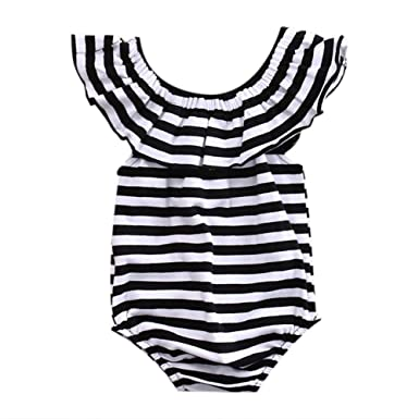 911aa494750 GRNSHTS Baby Girls Black and White Striped Romper Bodysuit (70 0-3 Month