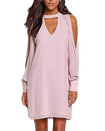YOINS Sommerkleid Damen Sexy Kleid Langarm Blusenkleid für Damen  Tshirtkleid Skaterkleid V-Ausschnitt Langes Kleid mit Ärmeln  Amazon.de   Bekleidung f5d7cf5629