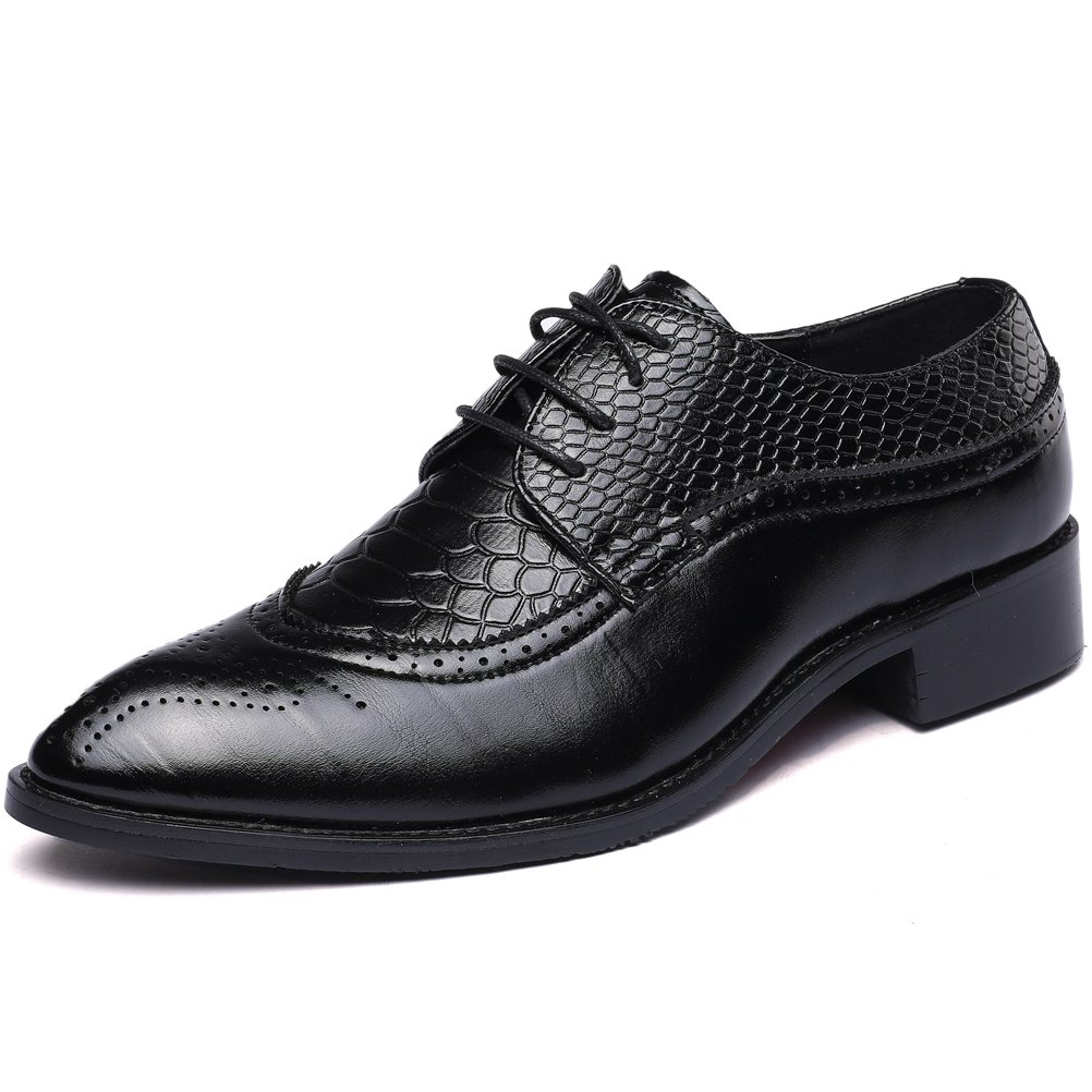 Senyee Mens Dress Shoes, Modern Classic Lace Up Wingtip Brogue Leather Casual Oxfords Black 9.5
