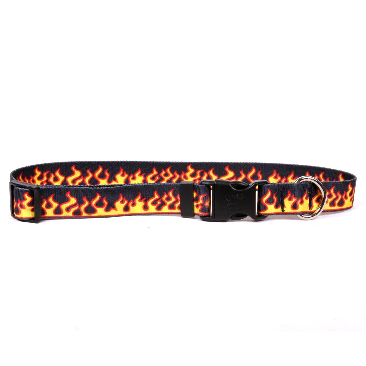 Yellow Dog Design Red Flames Dog Collar with Tag-A-Long ID Tag System-Large-1'' Wide and fits Neck 18 to 28''