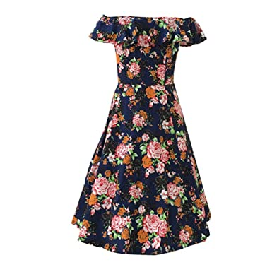 MILEEO Damen 40s 50s 60s Vintage Kleider Elegantes Knielanges Retro ...