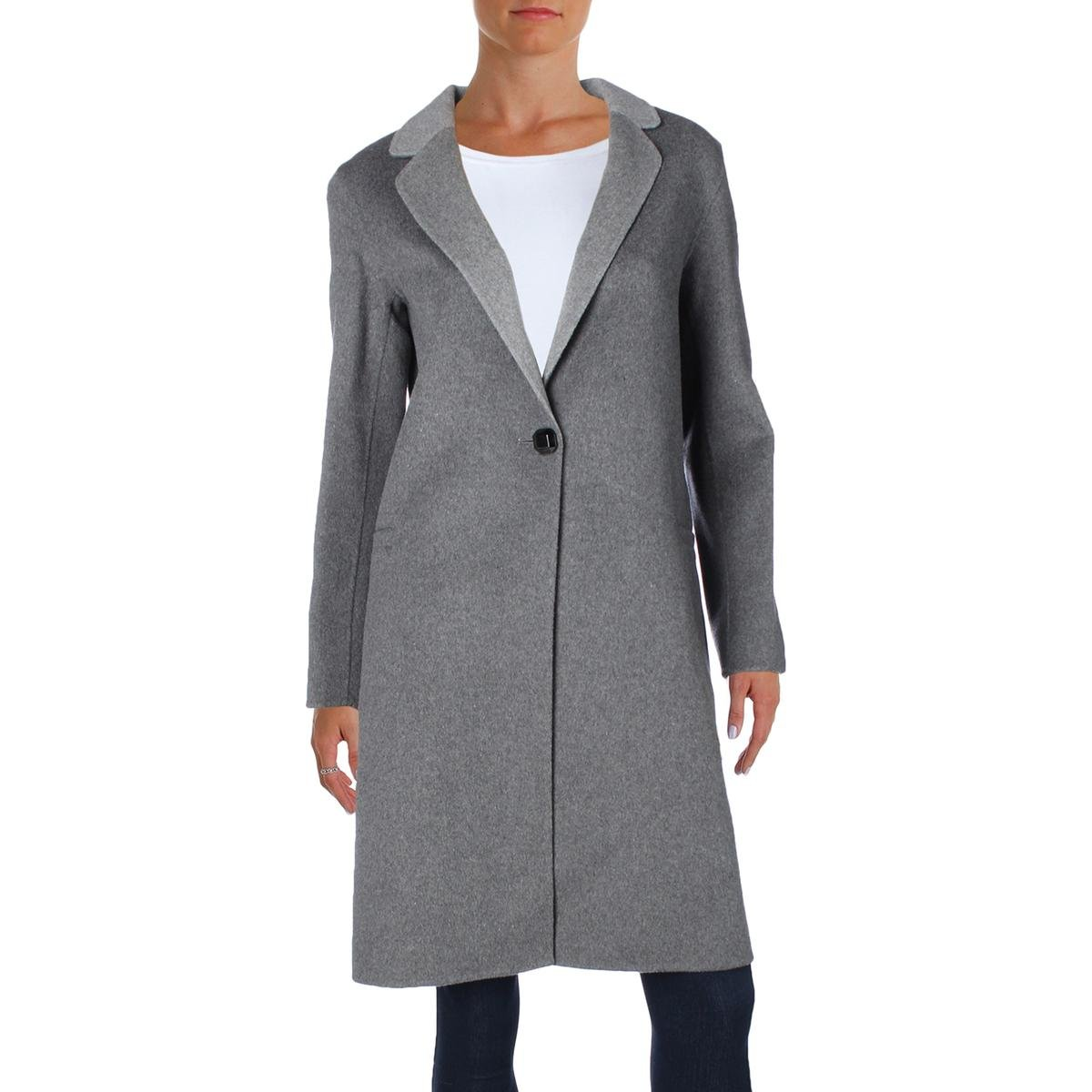 Nanette Lepore Women's Elegant Double Faced Single Breasted Wool Blend Coat, Heather Grey, X-Large