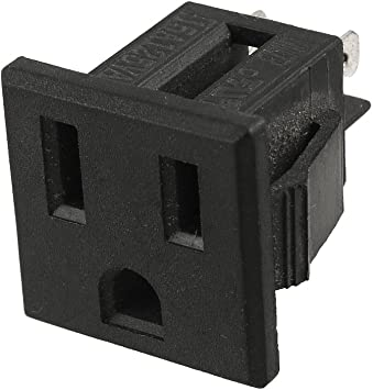 Uxcell Us Plug Ac 125v 15a Panel Mount Outlet Power Socket Black Light Sockets Amazon Com