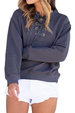 Frauen Lockere Pullover Lace Up Cross Verband Im Kapuzenpulli ...