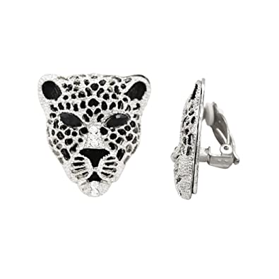 fb84c85f3 Amazon.com: Rosemarie Collections Women's Crystal Accented Black Panther  Clip On Earrings (Silver): Jewelry