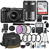 Canon EOS M6 Mirrorless Digital Camera with EF-M 15-45mm f/3.5-6.3 & EF-M 55-200mm f/4.5-6.3 IS STM Bundle Black + Canon Gadget Bag + 32GB Memory + Professional Accessories - Filters, Macros & More.