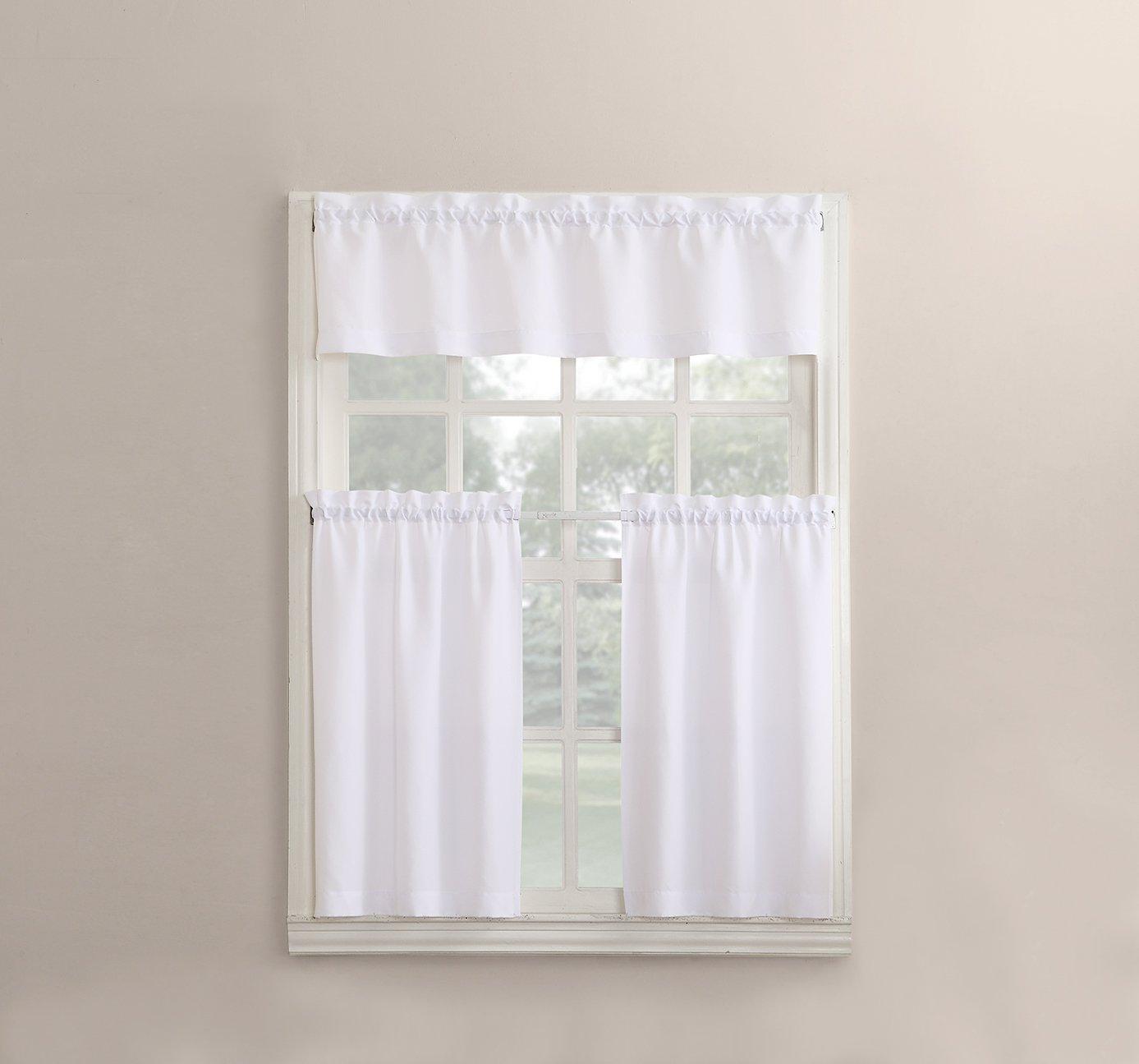 """No. 918 Martine Microfiber 3pc Kitchen Curtain Set, 54"""" x 36"""", White"""