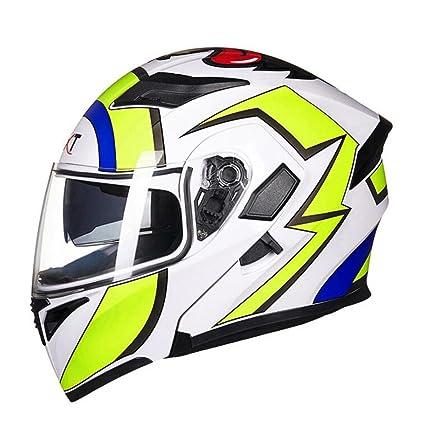 DLD Casco de la Motocicleta Casco Integral de la Vespa Gafas Dobles Luz de Seguridad antiniebla