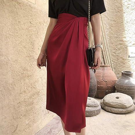 HEHEAB Falda De Invierno,Borgoña Falda Midi Mujeres Moda Otoño ...