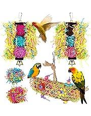 Aidiyapet zabawki dla ptaków, 3 opakowania papugi klatka dla ptaków zabawki huśtawka żucie wisząca papuga okonie z dzwonkiem, drewniana drabina hamak na konury, kokatiels, Budgie i piękne ptaki