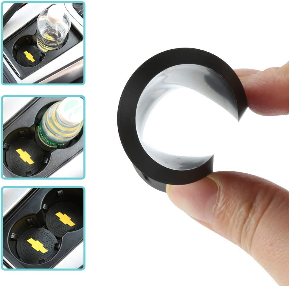 Wall Stickz 2.75 Inch Diameter Oval Tough Car Logo Vehicle Travel Auto Cup Holder Insert Coaster Can 2 Pcs Pack fit Mini Accessory