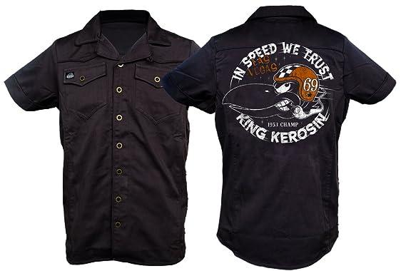 King Kerosin - Camisa Casual - para Hombre Negro X-Large: Amazon ...