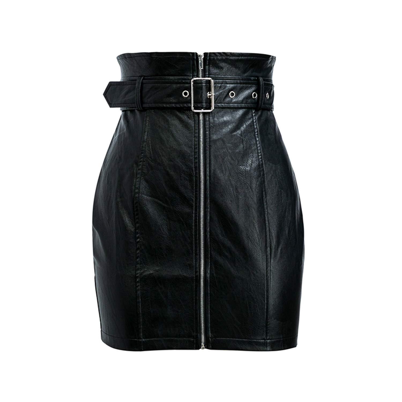 High Waist Pu Leather Skirts Women Sash Zipper Pencil Mini