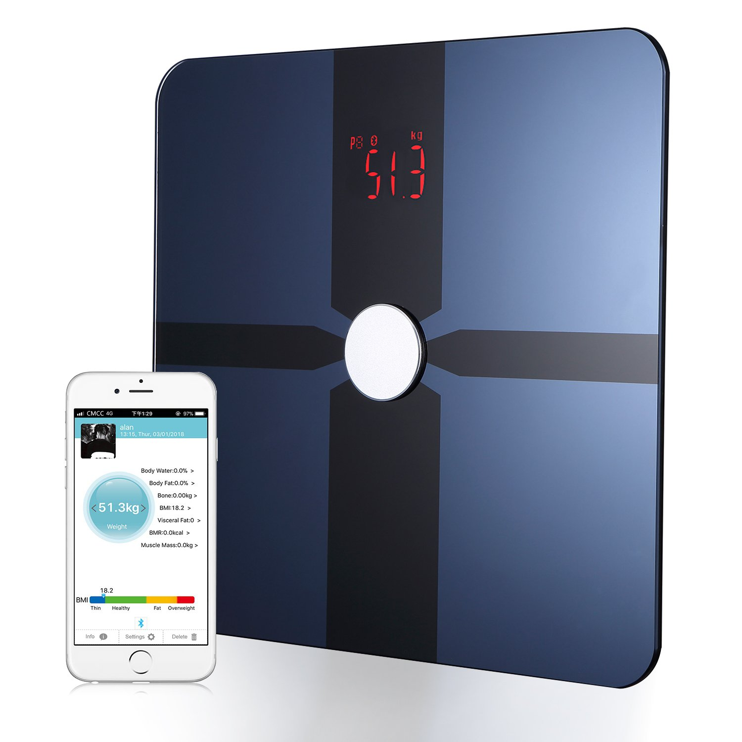 Body Fat Scale – Bluetooth Digital Smart Scale Body Composition Analyzer with Free Smartphone App (battery included)