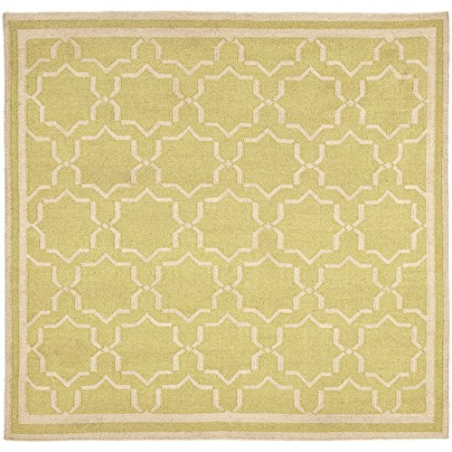 - Safavieh Dhurries Collection DHU545C Hand Woven Light Green and Ivory Premium Wool Square Area Rug (8' Square)