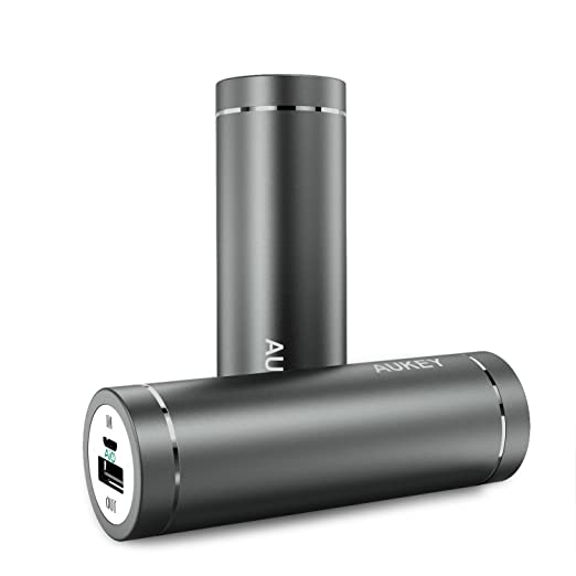 AUKEY Mini 5000mAh Portable Lipstick-Sized Charger External Battery Power Bank with AiPower Adaptive Charging for iPhone 6S, 6 , 6Plus, Galaxy S7, S7 Edge, Edge+, Note 5 and more - Gingery