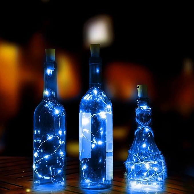 AAA226 15//20 color plateado Morado Guirnalda de luces LED de corcho para botellas de vino funciona con pilas 2 m