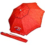 Tommy Bahama Sand Anchor 7 feet Beach Umbrella with Tilt and Telescoping Pole (Red Stripe)