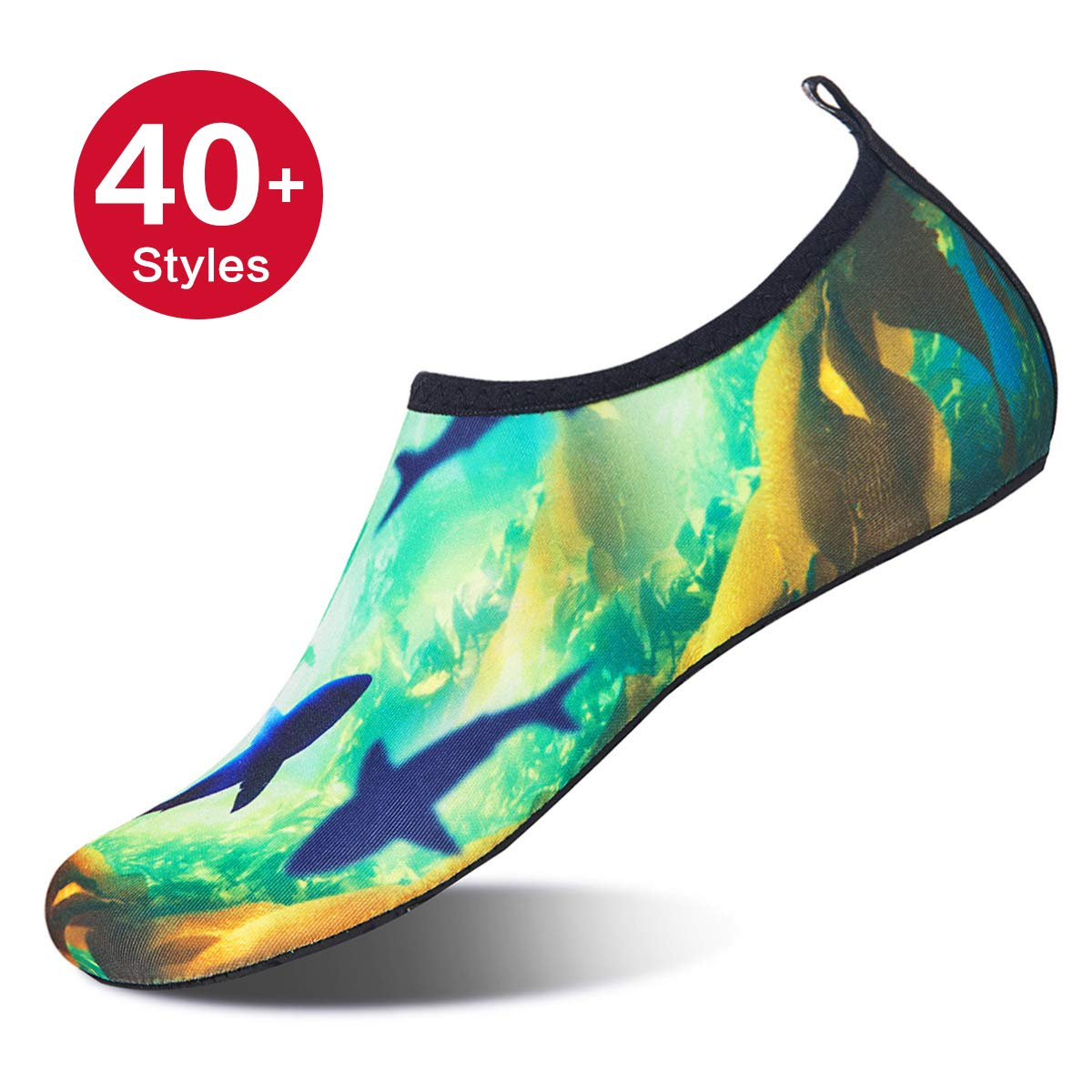 d16bda58b7d4 Amazon.com | Womens and Mens Water Shoes Barefoot Quick-Dry Aqua Socks for  Beach Swim Surf Yoga Exercise (Shark, L) | Water Shoes