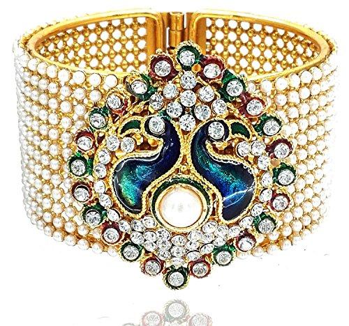 ZenemeTraditional Style Gold Plated Pearl Studded Kada Bangle Jewellery for Women / Girls