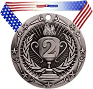 Decade Awards Place Medal World Class Medal - 3 Inch Wide Medallion with Stars and Stripes American Flag V Nec