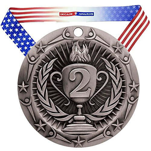 Decade Awards 2nd Place World Class Medal - Silver | WCM Second Place Award | Includes Stars and Stripes American Flag Neck Ribbon | 3 Inch Wide