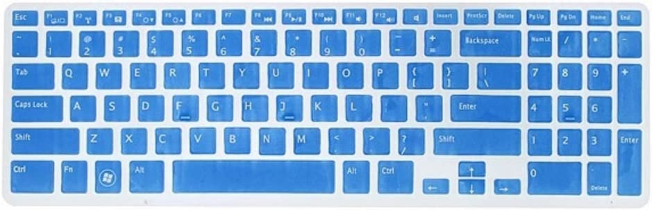 Keyboard Dust Cover Silicone Protector Transparent Skin Film Compatible for DELL New 15R N5110 M5110,Blue