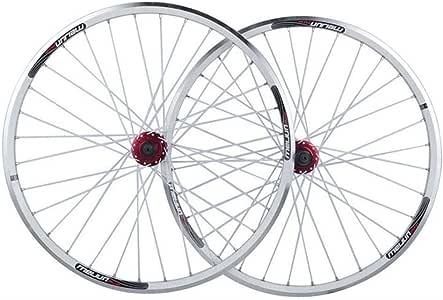 Zyy Juego Ruedas Bicicleta 26 Pulgadas, llanta de MTB de Doble Pared Liberación rápida V-Brake Híbrido/Disco Orificio for Bicicleta de montaña 7 8 9 10 Velocidad Llantas Hub (Color : White): Amazon.es: