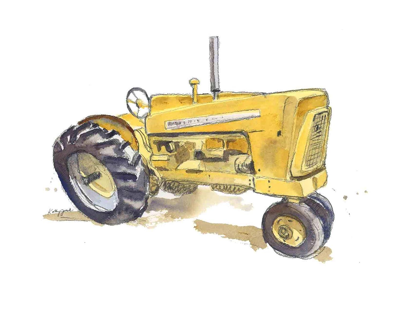 Amazon Com Yellow Farm Tractor Wall Art Print For Kids Room