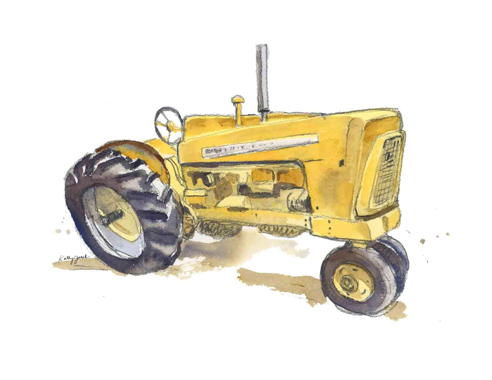 Yellow Farm Tractor Wall Art Print for Kids Room | 1959 Cockshutt Tractor | 8.5 x 11 Inch Gallery Quality Fine Art Giclée Print by Little Splashes of Color