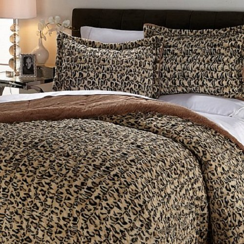 Concierge Collection Long Faux Fur Comforter Set (Full/Queen, Leopard)