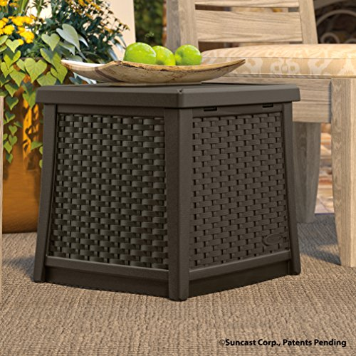 Amazon.com : Suncast ELEMENTS End Table With Storage Java : Patio, Lawn U0026  Garden