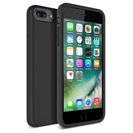 Maxboost iPhone 7 Plus Case, [DuraSLIM Series] Heavy-Duty Dual-Layer Soft Touch Protective Cases Cover [Black] Soft TPU Bumper Hard Solid ...
