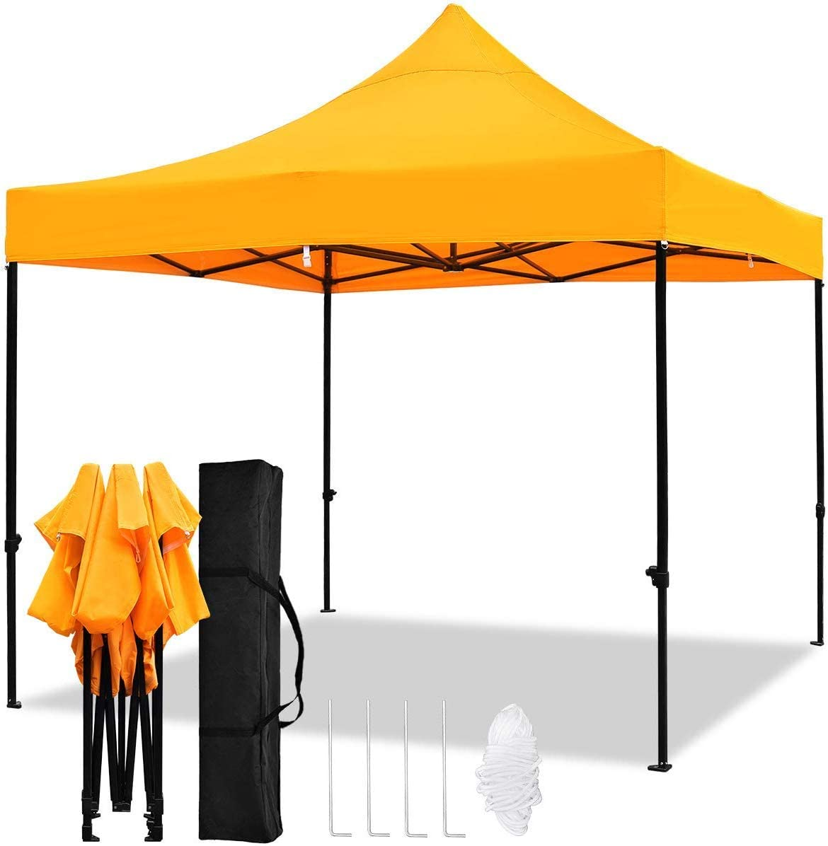 kdgarden 10 x10 Outdoor Easy Pop Up Canopy with 420D Waterproof and UV-Treated Top, Portable Commercial Instant Shelter with Carrying Bag, Orange