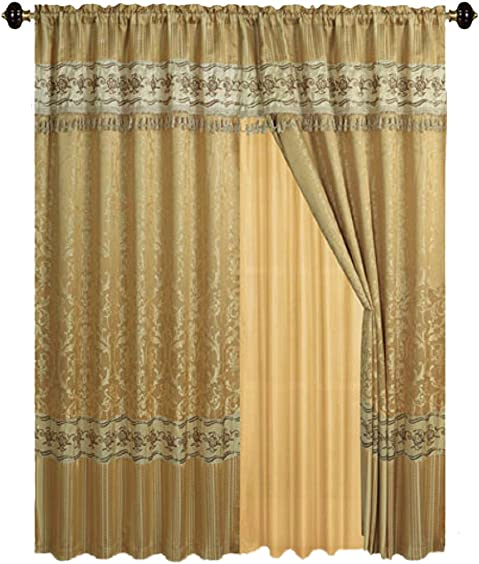 Luxury Jacquard Curtains Gold Window Panels with Backing, Valance and tie Backs- Emma D122 Gold