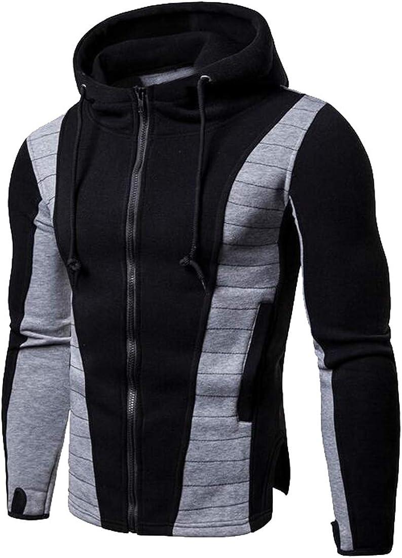 XiaoTianXinMen XTX Mens Regular Fit Sports Contrast Full-Zip Hoodie Hooded Sweatshirt Coat Jacket