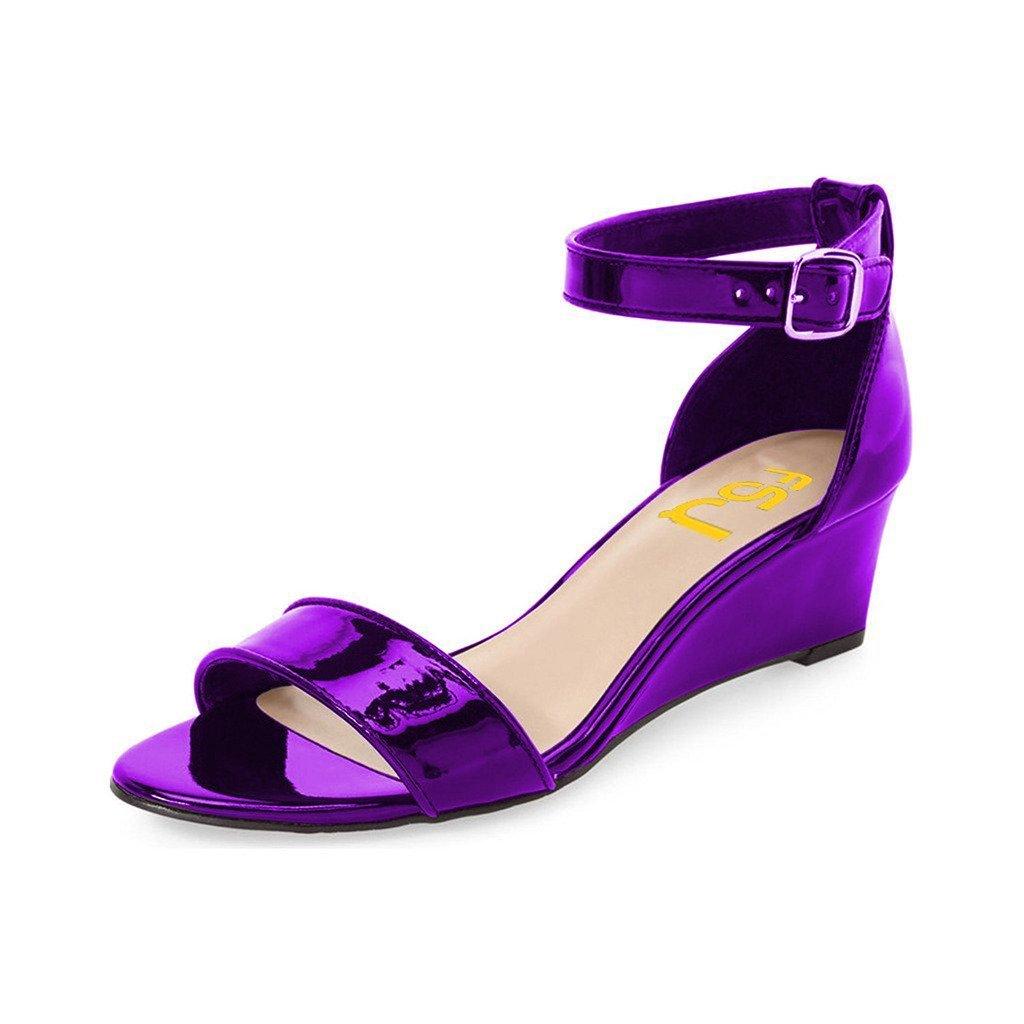 FSJ Women Summer Open Toe Ankle Strap Buckle Comfy Shoes Low Heels Wedge Sandals Size 4-15 US B071NVW7GR 13 B(M) US|Purple