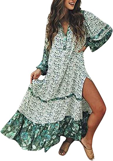 Cinnamou Femme Robe Longue Fleurie Bustier Bandeau Robe de