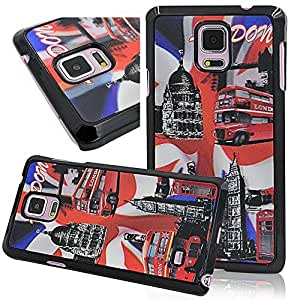 Seedan 3D Visual Design Case for Samsung Galaxy Note 4 - London Bus Painting PC Hard Back Cover Skin Variety Shell Sturdy Protector
