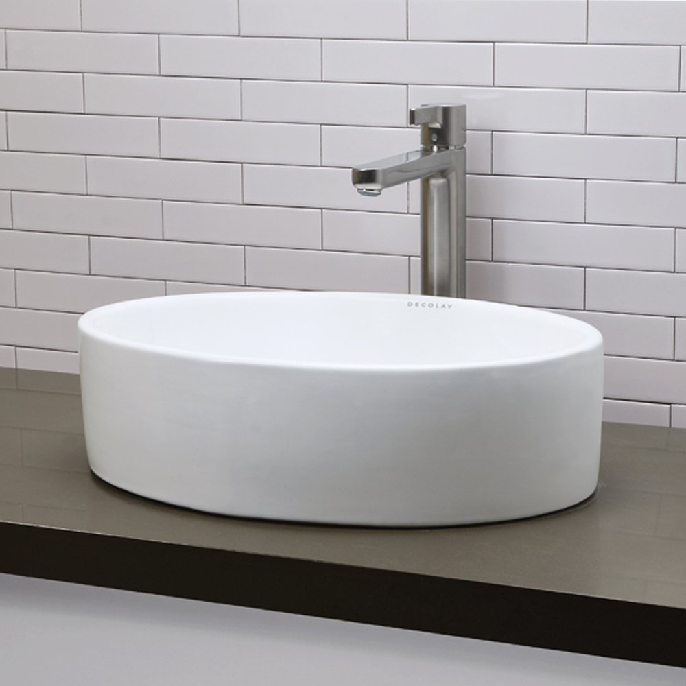 Delightful DECOLAV 1459 CWH Jaelyn Classically Redefined Oval Vitreous China  Above Counter Lavatory Sink, White   Vessel Sinks   Amazon.com