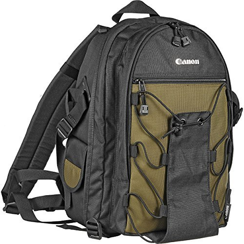 Canon Deluxe Photo Backpack 200EG for Canon EOS SLR Cameras (Black with Green Accent) by Canon