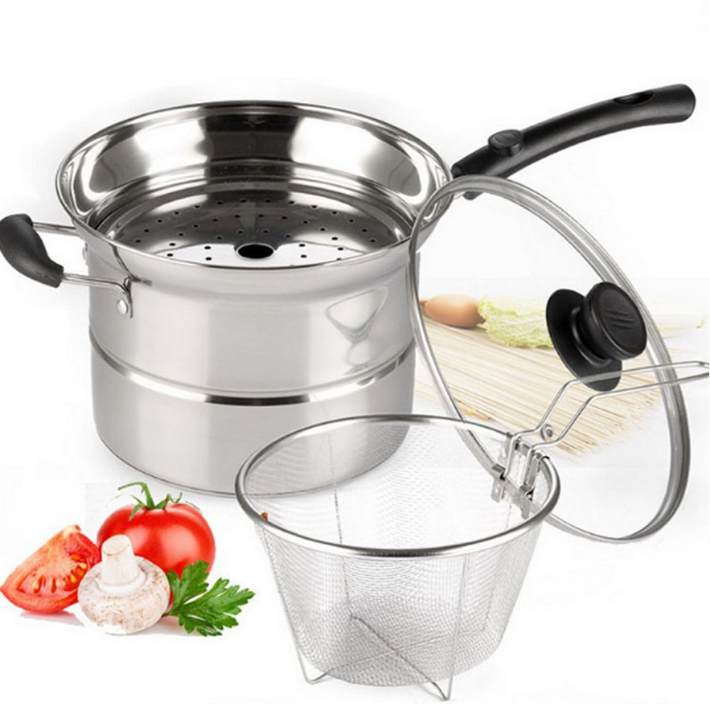 4-Piece Pasta Pot Set,Sauran Stainless Steel Durable Sauce Pot with Steamer and Strainer Insert,Multi-Purpose Pots with Double-Bottom