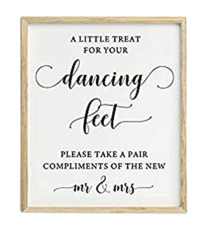 c1b6aa10d071f6 Image Unavailable. Image not available for. Color  A Little Treat For Your Dancing  Feet Wedding Sign ...