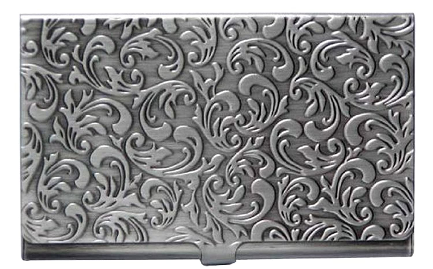 Metal Damask Embossed Business Card Case (Antique Silver Tone) at ...