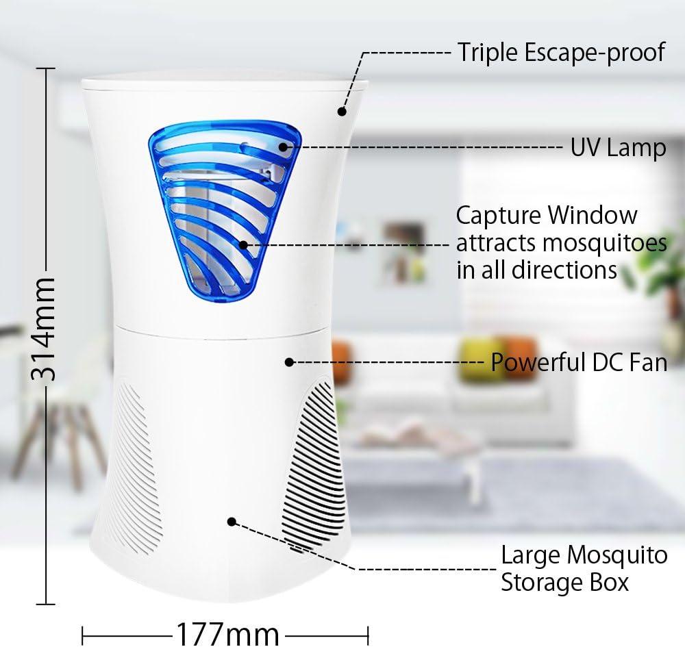 FRGHF Elektrischer Insektenvernichter UV Insektenfalle M/ückenlampe 360/° Insektenvernichter M/ückenlampe KeinL/ärm Fliegenfalle Elektrisch M/ückenschutz USB M/ückenfalle f/ür Innen und Au/ßen Chemiefrei