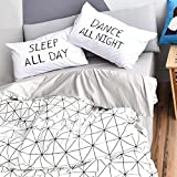 BuLuTu 3 Pieces Kids Duvet Cover Sets Queen Cotton White Grey Diamond Grid Bedding Collections full,1 Duvet Cover + 2 Pillowcases,Love Gifts for Men,Women,Boys,Girls,Friend,Family,NO COMFORTER
