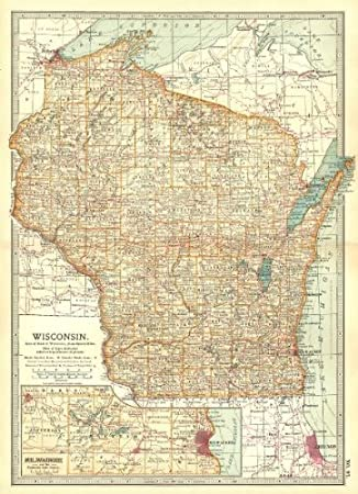 Amazon Com Wisconsin Counties Indian Reservations Milwaukee Waukesha Lakes 1903 Old Map Antique Map Vintage Map Printed Maps Of Wisconsin Office Products