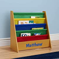 DIBSIES Personalized Kids Bookshelf (Honey with Primary Fabric)