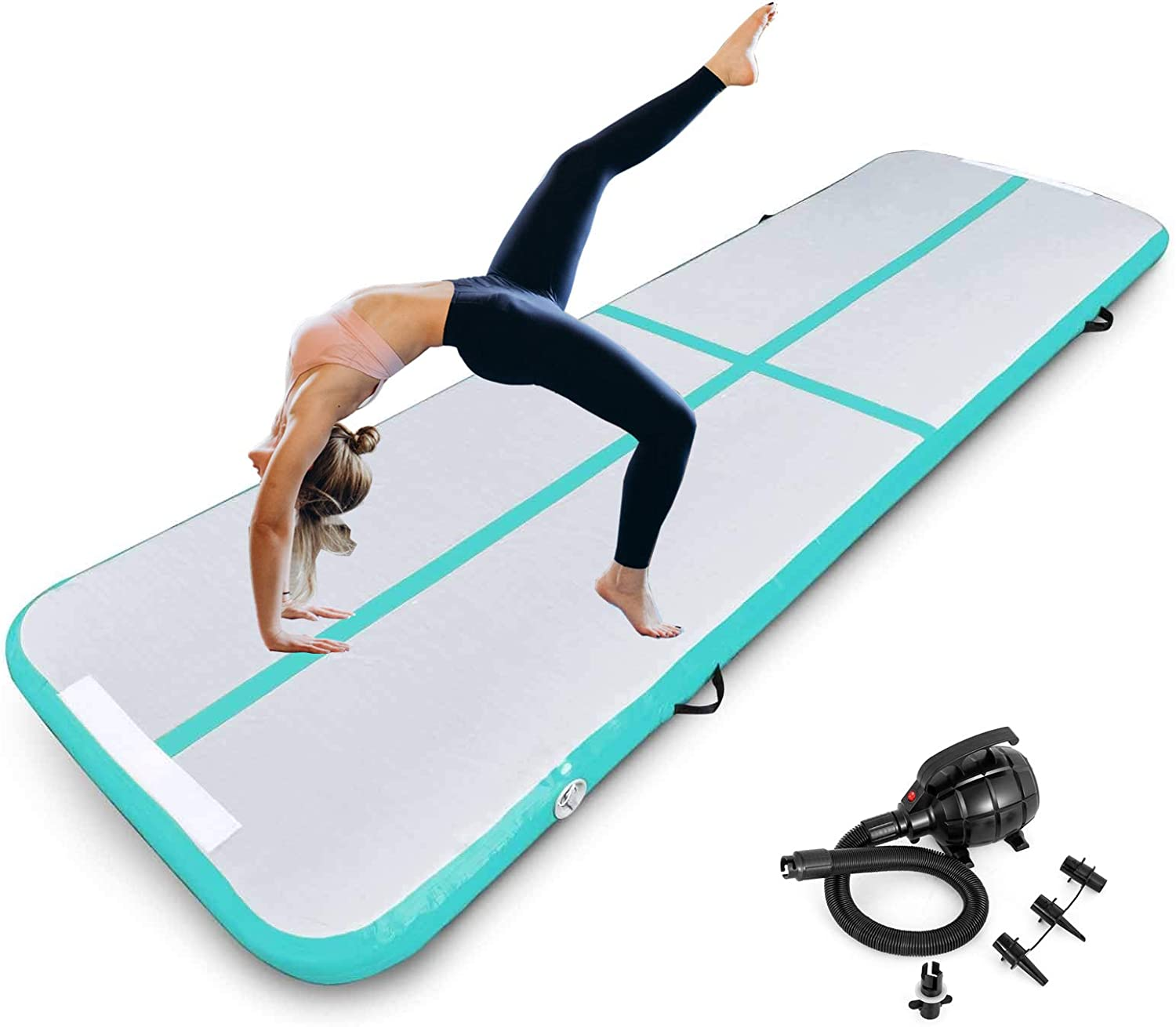 Inflatable Gymnastics Air Tumbling Track Mat 4 Inch Thickness Gymnastics mat 16ft for Home Use/Yoga/Training/Water with Electric Pump