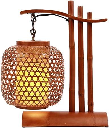 LTongx Lampe de Bureau LED en Abat Jour en Bambou, Lanterne